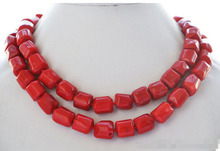 "Lovely Fine natural 32"" 13x15mm massive red coral bead pendant NECKLACE 32inch Nobility Woman's jewelry PNS111"
