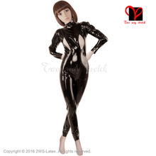Buy Black shoulder Vertical breast crotch zipper latex suit Unitard Sexy Zentai overall Latex Catsuit rubber catsuit plus LT-043