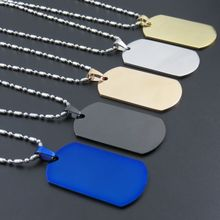 5Colors Stainless Steel Dogtags Pendant Necklace, Fashion Gold-color/Rose Gold color/Black Dog tags, Gift Jewelry