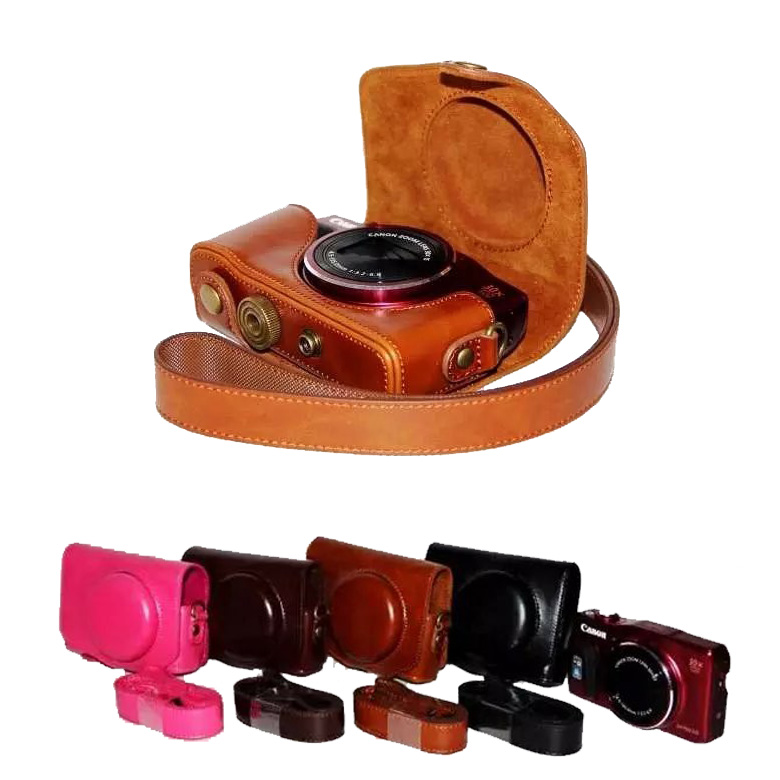 New Pu Leather Video Camera Case Bag Canon Powershot SX700 SX710 Camera cover pouch strap coffee black brown Rose red