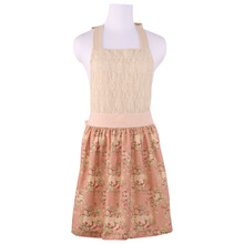 Neoviva Retro Apron for Women with Hidden Pockets, Style Marie in Lace, Floral Yellowish Pin