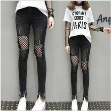 2017 spring and summer new women do old black washed Net fish net hole elasticity was thin cowboy nine points pants girl tide