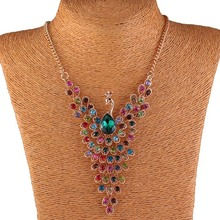 Match-Right Rhinestone Peacock Statement Necklace Pendant Women Summer Style Jewelry For Gift Party