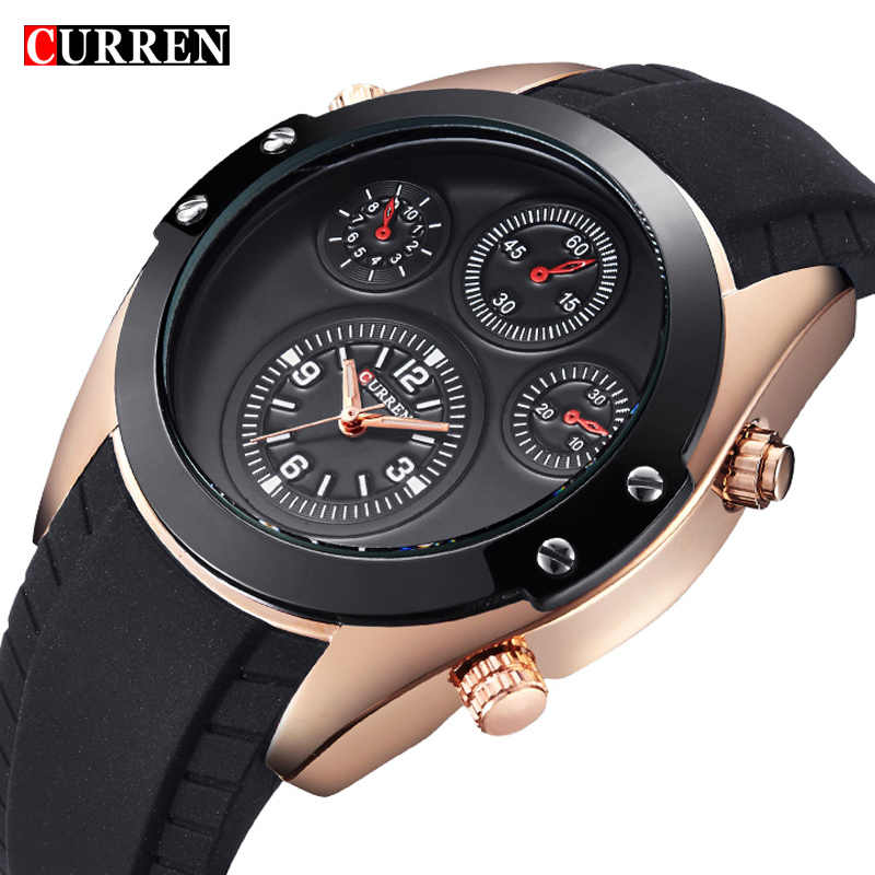 2017 Curren Dashboard Decor waterproof Quartz Watches Mens Casual fashion Unique Wristwatch men Brand quality rubber strap<br><br>Aliexpress
