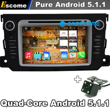 Pure Android 5.1 Car dvd GPS Navigation Radio Blutooth For Mercedes Benz Smart Fortwo 2012 2013 2014 Quad Core Rear View Camera
