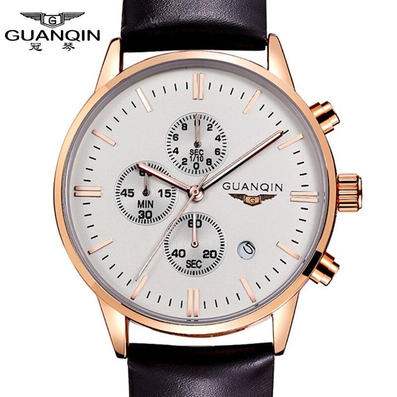 Watches Men New Fashion Luxury Top Brand GUANQIN Mens Big Dial Designer Quartz Watch Male Wristwatch relogio masculino relojes<br>