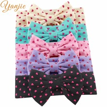 "1PC 2017 Hot-sale Girl 5"" Cotton Dot Heart Elastic Bow Headband Hair Style Headbands Accessories For kIds Headwrap Bandeau(China)"