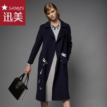 2017 New Arrival Winter Dragonfly embroidery 100% wool long coat Women's jacket qualities OL lady woolen coats outer clothing