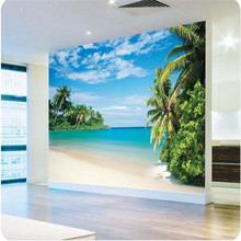 wall wallpaper High quality paper Coconut grove island landscape sofa headroom blue seascape large painting mural wallpaper
