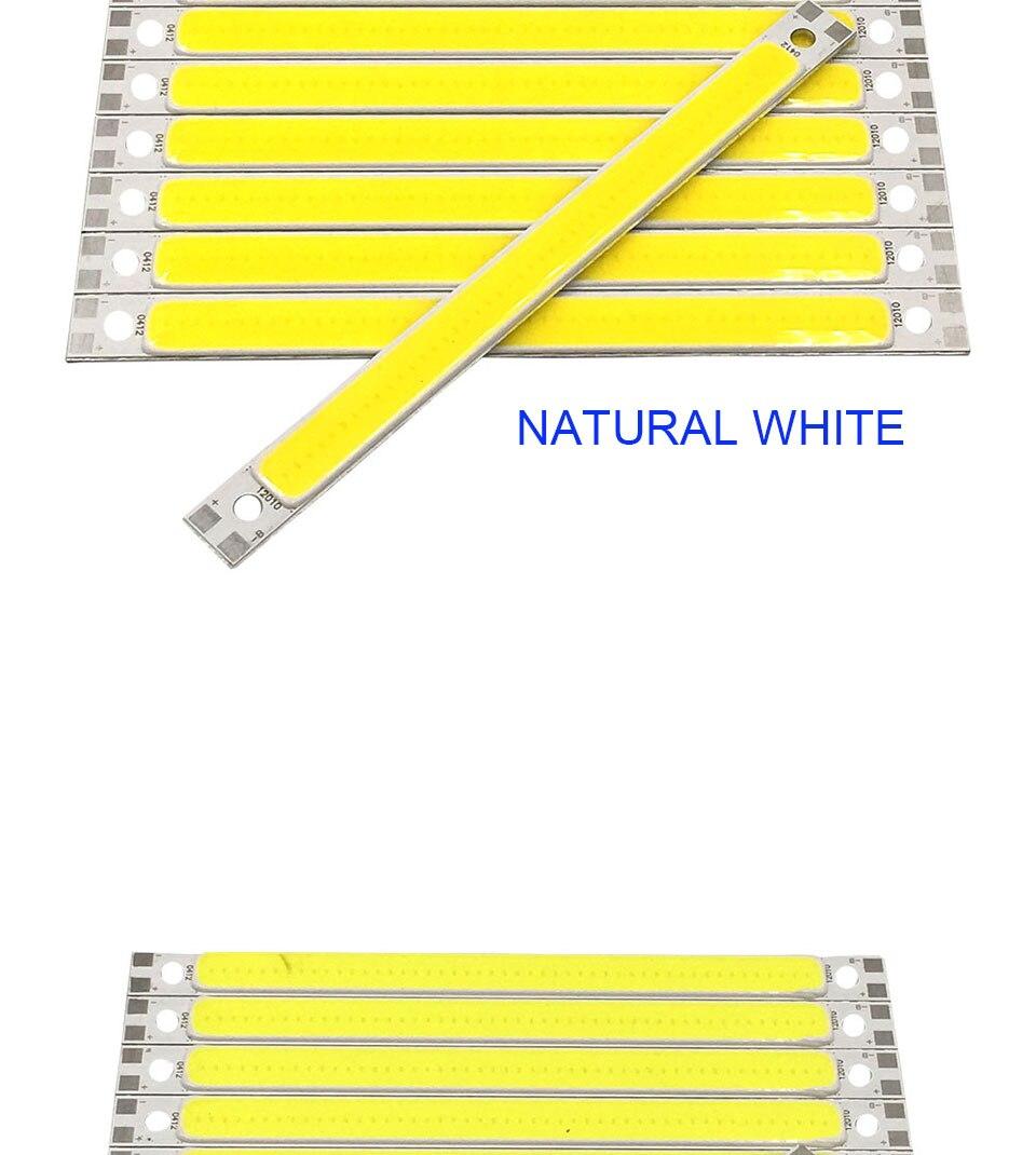 120mm 4.72in LED Bar Light Strip COB Bulb 12V 7W 10W LED Lamp Green Blue Red White Emitting Colors 12010mm COB Chip (7)