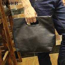 Man Black Clutch Bag With Shoulder Belt .Men Work Document Holder Clutches Bag
