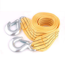 3 Tons Heavy Duty 12ft 2 Hooks Road Emergency Trailer Rope Tow Line Strap Yellow Fit for Universal Car