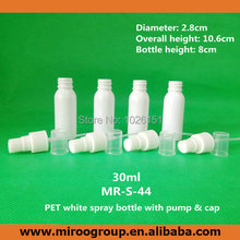 100PCS/LOT 30ml spray bottle 30ml White PET small empty spray bottle 1oz Plastic Refillable spray bottle (high quality)