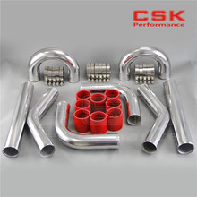 "TURBO INTERCOOLER PIPE 2.25"" CHROME ALUMINUM PIPING PIPE TUBE+T-CLAMPS+SILICONE HOSES RED"