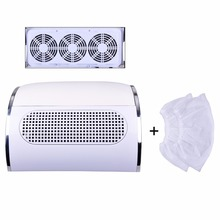 Nail Art Dust Suction Collector 3 fans Nail dust collector nail dust cleanser collector Nail dryer machine with 2 bags(China)