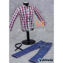 New 1:6 Scale Model ZY Toys Male Printing Long Sleeve Shirt & Jeans Belt 12'' Action Figure Bodies Accessories H