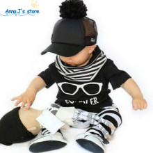 TZ395 Baby Boys Girls Baby Newborn Baby Garment Tops With short Sleeve Casual Trousers Outfit Hat Bodies Clothing Set 2017