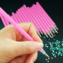 10Pc Pink Nail Art Rhinestones Picking Tools Dotting Brush Pencil Pen Set