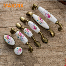 MAXMIX 1PCS Vintage Ceramic Cabinet Knobs and Handles China Flower Furniture Hardware Handle & Knob drawer door handle(China)