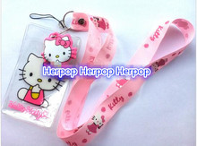 Free Shipping lot 50 Pcs Pink Hello Kitty High Quality Cartoon Lovely key chain Cute Lanyard ID Badge Holder Key Neck Strap
