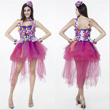 2017 detalhes sobre a nova sexy adulto mulheres harlequin jester clown circus halloween costume fancy dress