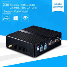 Mini Pc with Windows 10 celeron 3755 J1800 Quad core J1900 2.41GHz Pentium 3805U Industrail Computer port PC 2*Lan port+2*RS232