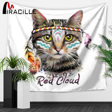 Miracille Wall Hanging Cloth Tapestry 3D Red Cloud Cat Print Bohemian Bedspread Dorm Cover Home Room Wall Art Decor Mat Textiles