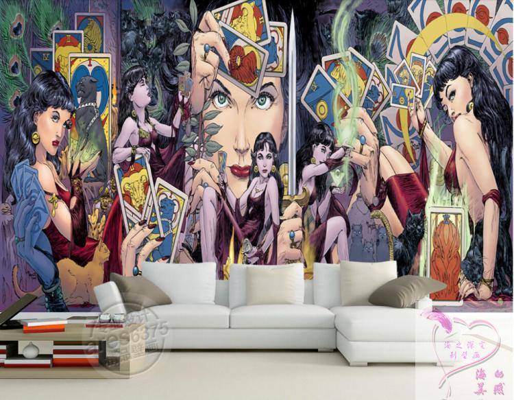 Custom photo wallpaper 3D TV sitting room wallpaper hand-painted cartoon tarot cards warm bedroom restaurant wallpaper mural<br>