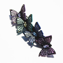 Buena Four Butterfly Hair Barrettes Hair Clips Cellulose Acetate Charming French Barrette Mariposa Shape SA050