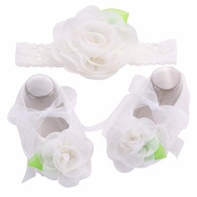 Soft Sole Flower Newborn Baby Girl Christening Shoes Headband Set,2016 Lovely Chaussure Bebe Fille,Infantil Menina First Walkers(China)