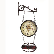 Big Wrought Iron Double Sided Wall Clock Vintage Watch Retro Saat Relogio Parede Digital Reloj Mural Duvar Saati Horloge Murale(China)