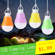 LED DC5V 5W 1 USB Ball Bulb Reading Light Portable Night Lighting Notebook Outdoor SMD5730 Power Bank Emergency Lamp Camping LED