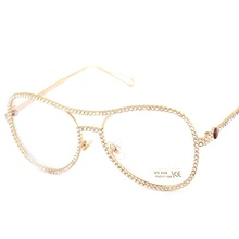 Crystal Rhinestone Oversized Sunglasses For Women Optical Glasses Frame Clear Lens Anti Blue Ray Anti UV400 High Quality JWW161