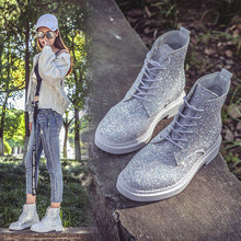 Booties 2018 woman Casual Martin Shoes Hip hop trend sequins ankle boots Autunm leather boots women ankle botas mujer (China)