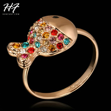 R017 Lovely Q Fish Rose Gold Color Ring Made with Genuine Austrian Crystals Full Sizes Wholesale