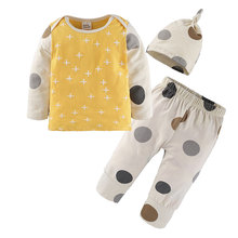 Buy 2018 Baby Boy Girl Clothes 3pcs Clothing Sets Cotton Dots Print Patchwork Long Sleeve Tops Pants Hat Newborn costume Suits for $8.00 in AliExpress store