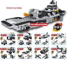 Modern military 8in1 Armed battleship building block warship model army figures fighter submarine Missile vehicle speedboat toys(China)