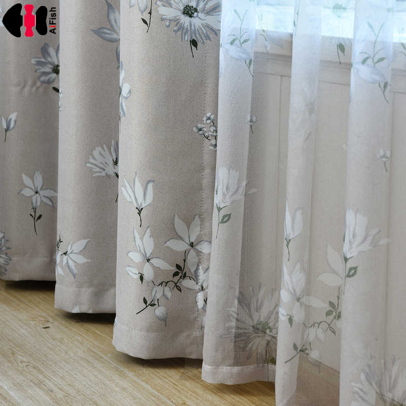 Blackout fabric Blue blackout curtains cloth Drape Transparent Sheer Voile Decor Beige Curtain Customize WP201B