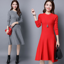 2017 Winter knitted Dress Women New O-Neck Long Sleeve solid Sweater Dress soft and comfortable