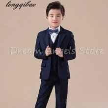 High quality 2016 new arrival fashion baby boys kids blazers boy suit for weddings prom formal dark blue dress wedding boy suits(China)