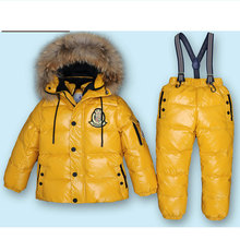 Mioigee Super Warm Children Winter Suits Boys Girl Duck Down Jacket +Pants 2 pcs Clothing Set Thermal Kids Snow Wear Top Quality(China)