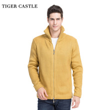 TIGER CASTLE Men 2017 Thick Woll Sweater Fashion Solid Men's Knitted Cardigan Autumn Winter Male Knitting Clothing Plus Size 3XL(China)