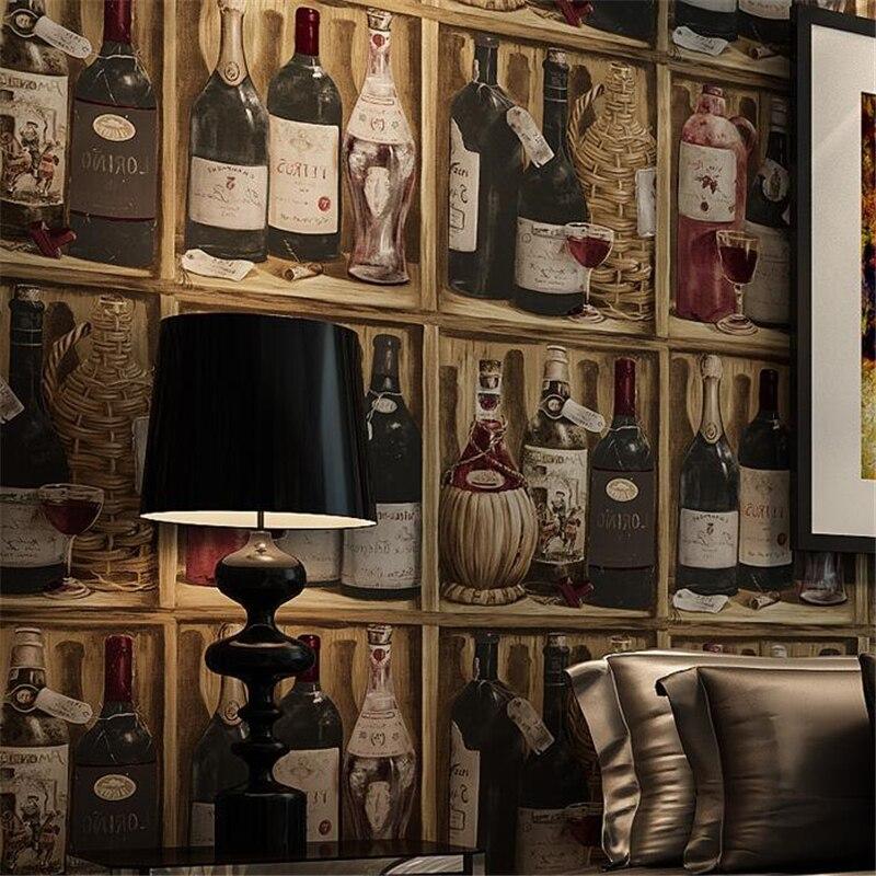 beibehang American Style Retro Wine Cellar Wallpaper papel de parede Wine Bottle Study Background Wall Pattern Wallpaper <br>