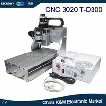 Free shipping 300W CNC 3020 T-D300 DC power spindle motor CNC engraving machine drilling router(China)