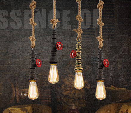 Industrial Vintage Personality Creative Iron and Hemp Rope Pendant Light Restaurant Cafe Bar Decoration Retro Lamp Free Shipping<br>