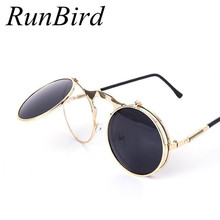 RunBird Retro Steampunk Round Sunglasses Women Brand Designer Vintage Metal Steam Punk Sun Glass Men Oculos De Sol Feminino R009(China)