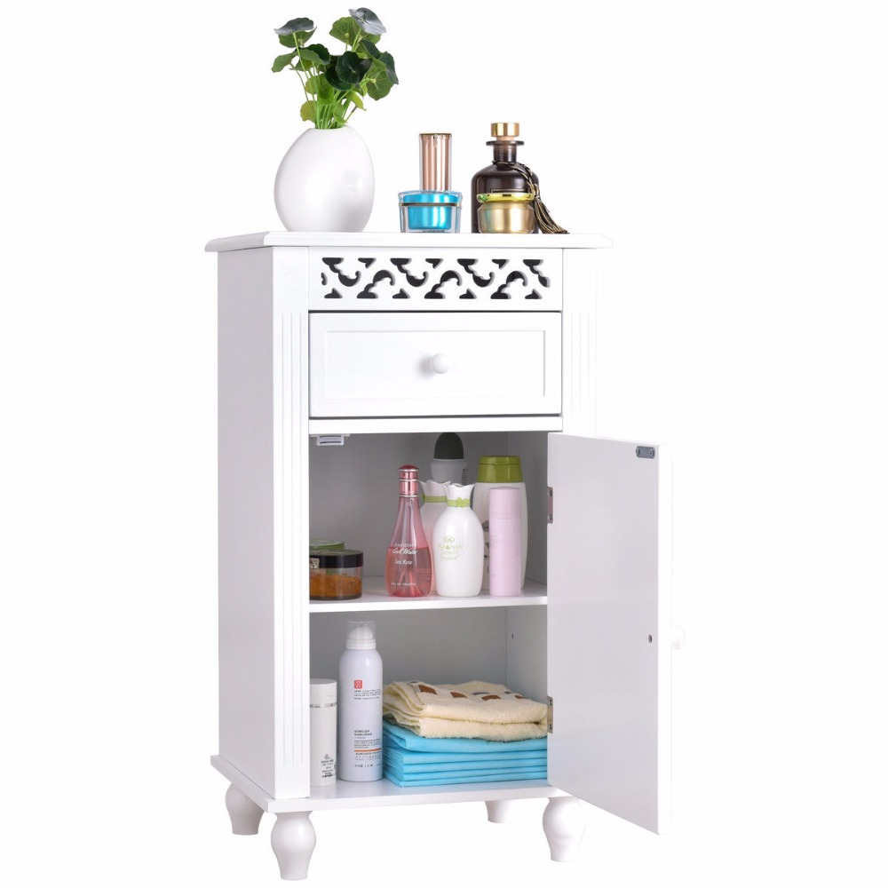 Giantex Storage Floor Cabinet Bathroom Organizer Floor Cabinet Drawer Kitchen White Modern Bathroom Furniture HW57018 5