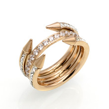 Europe Design Double Arrow 3 Layer Trendy Women Rings Stainless Steel Conical Awl Row Crystal Brand Love Cone Nail Ring