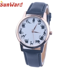 SunWard 2017 New Cartoon Cat Watches Women Fashion Leather Band Analog Quartz WristWatches Bracelet bayan saat reloj mujer New