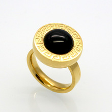 Jewelry Manufacturer China Plated Stainless Steel Natural Stone Ring(China)